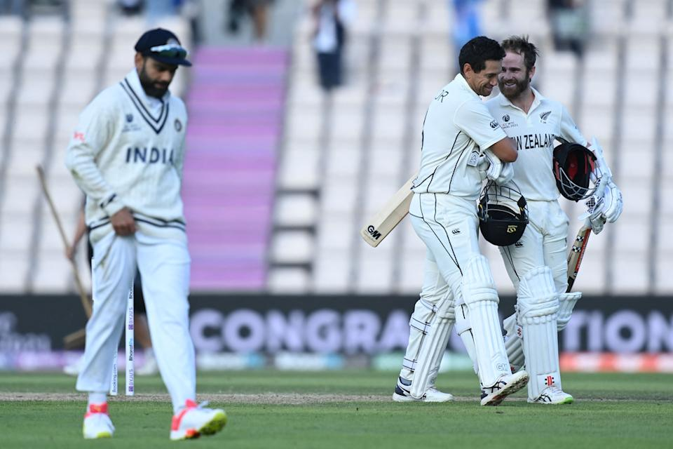 Ross Taylor and New Zealand's captain Kane Williamson celebrate victory on the final day of the ICC World Test Championship Final between New Zealand and India.