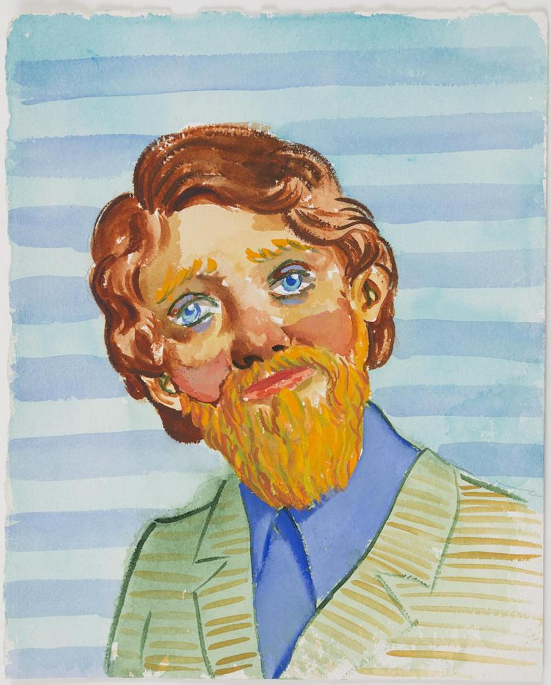Currin's men are nubby and nobby. Untitled, 1994. Gouache on paper.