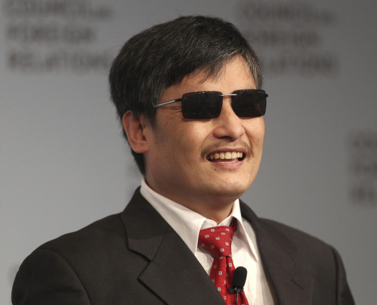 FILE - In this Thursday, May 31, 2012 file photo, blind Chinese activist Chen Guangcheng speaks at the Council on Foreign Relations in New York. Nine months after he escaped the purgatory of house arrest in China for the more sedate life of a New York University law student, Guangcheng is receiving a human rights award in Washington on Tuesday, Jan. 29, 2013. (AP Photo/Seth Wenig, File)
