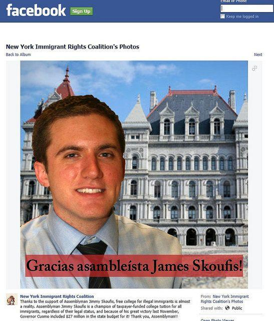 """An ad from the Facebookpage for """"New York Immigrant Rights Coalition"""" targeted New York Assemblyman James Skoufis."""