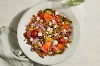 <p>This Mediterranean lentil salad, with chopped veggies, feta cheese and a light dressing, is perfect to have on hand for a quick lunch.</p>