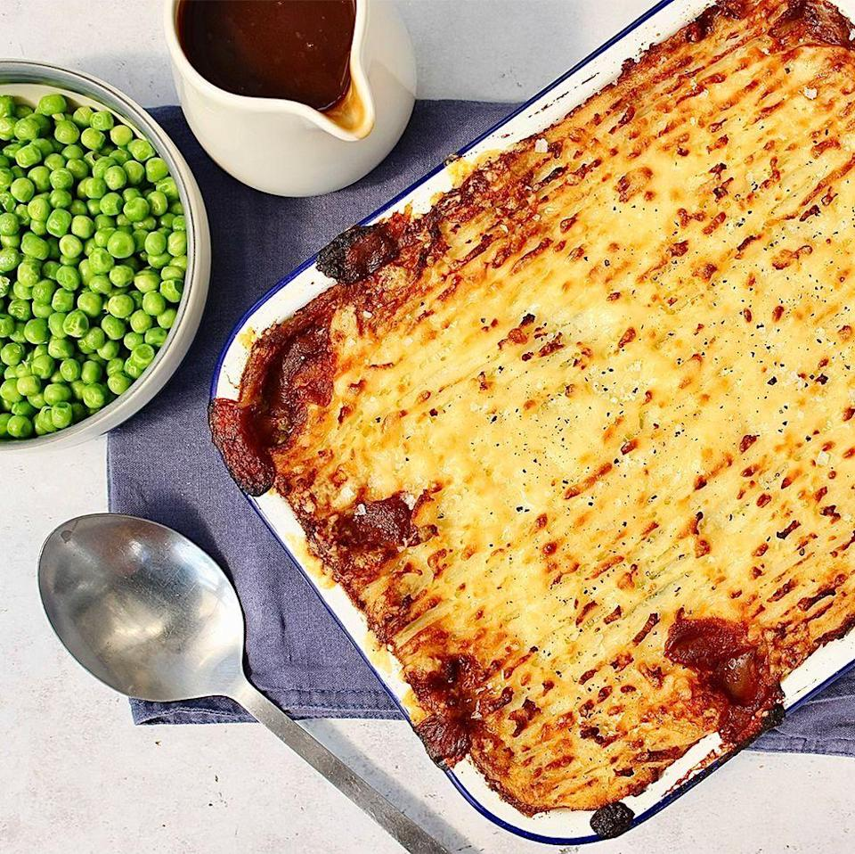 """<p>Cottage pie is essentially a <a href=""""https://www.delish.com/uk/cooking/recipes/a35305843/shepherds-pie/"""" rel=""""nofollow noopener"""" target=""""_blank"""" data-ylk=""""slk:shepherd's pie"""" class=""""link rapid-noclick-resp"""">shepherd's pie</a> but with beef. It's a meat pie, filled with beef and topped with cheesy mashed potatoes. YUM. The sauce we use is super simple. We sauté veggies, beef, and thyme, add stock and red wine, then simmer the mixture.</p><p>Get the <a href=""""https://www.delish.com/uk/cooking/recipes/a36737855/cottage-pie/"""" rel=""""nofollow noopener"""" target=""""_blank"""" data-ylk=""""slk:Cottage Pie"""" class=""""link rapid-noclick-resp"""">Cottage Pie</a> recipe.</p>"""
