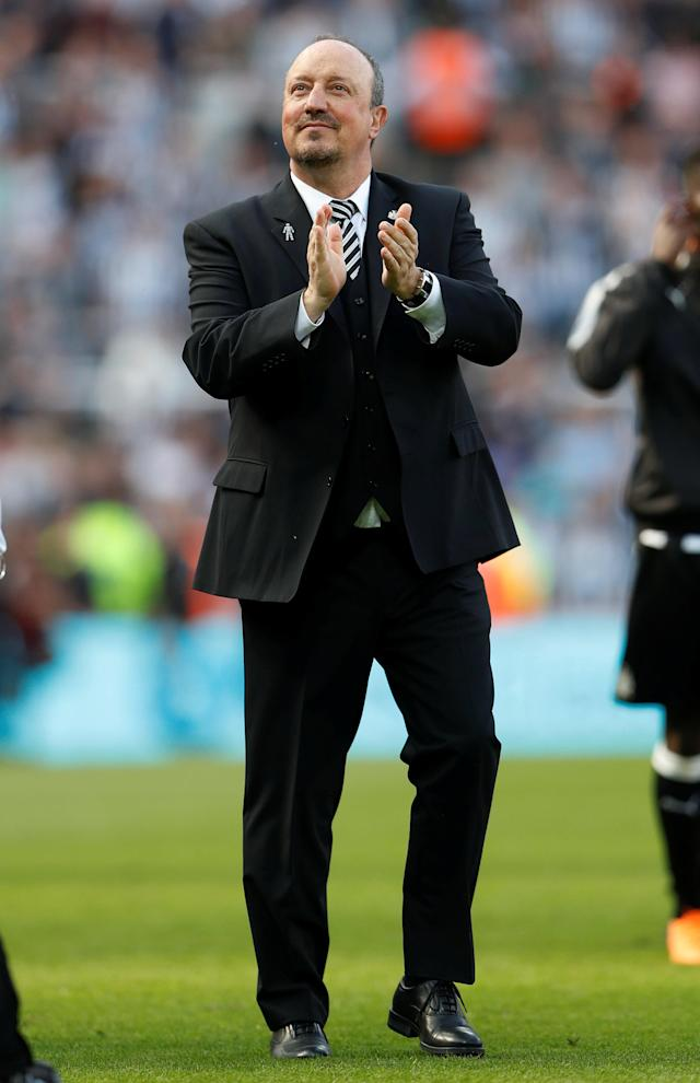 "Soccer Football - Premier League - Newcastle United vs Chelsea - St James' Park, Newcastle, Britain - May 13, 2018 Newcastle United manager Rafael Benitez appaluds the fans at the end of the match Action Images via Reuters/Lee Smith EDITORIAL USE ONLY. No use with unauthorized audio, video, data, fixture lists, club/league logos or ""live"" services. Online in-match use limited to 75 images, no video emulation. No use in betting, games or single club/league/player publications. Please contact your account representative for further details."