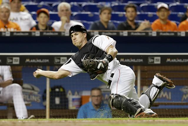Catcher J.T. Realmuto is one of the bright spots for the Marlins this season. (AP)