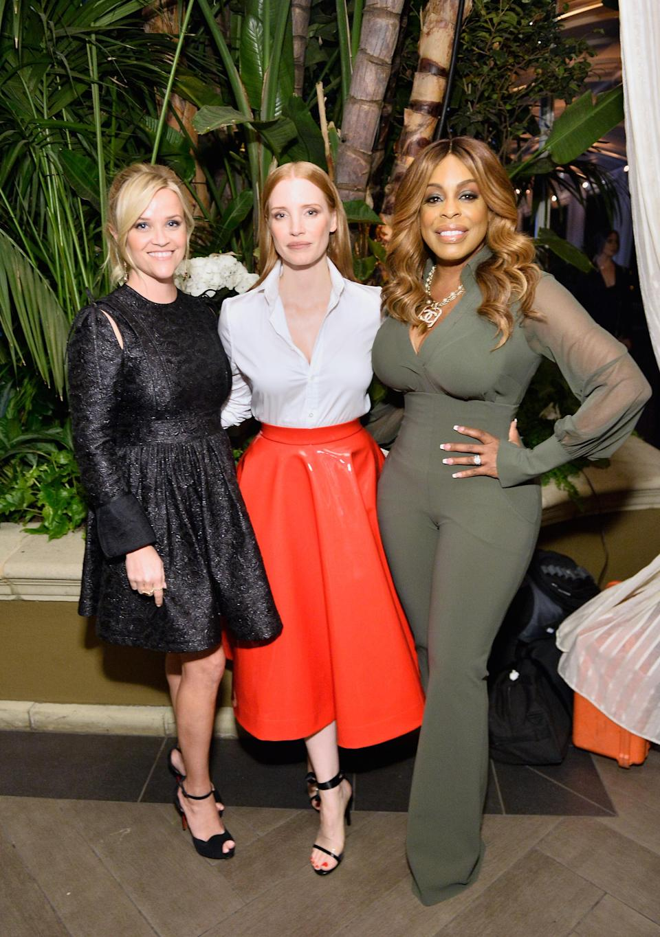 Reese Witherspoon, Jessica Chastain, and NIecy Nash at <em>Elle</em>'s Women in Hollywood celebration in L.A. on Oct. 16, 2017. (Photo: Getty Images)