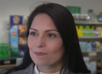 Priti Patel tells BBC North West 'can't blame government for poverty': BBC North West/ Twitter