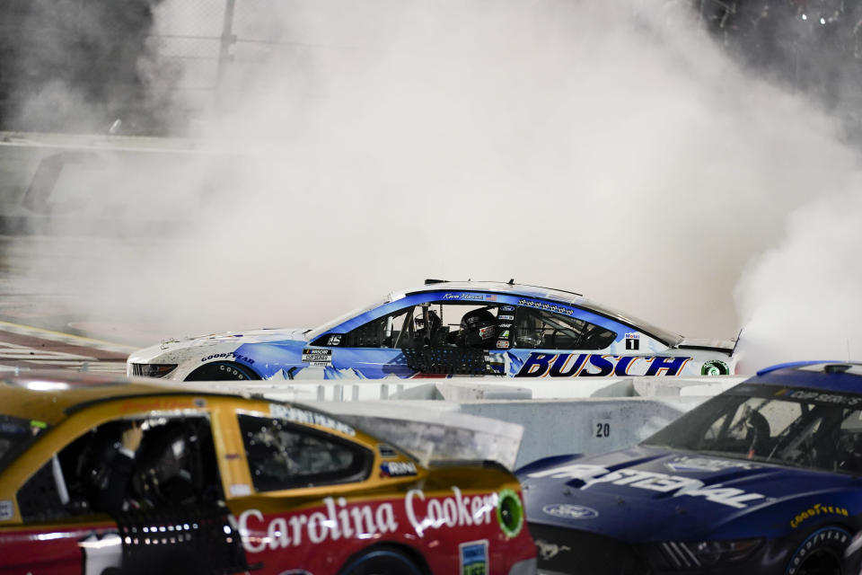 Kevin Harvick (4) celebrates a win at the NASCAR Cup Series auto race, Sunday, Sept. 6, 2020, in Darlington, S.C. (AP Photo/Chris Carlson)
