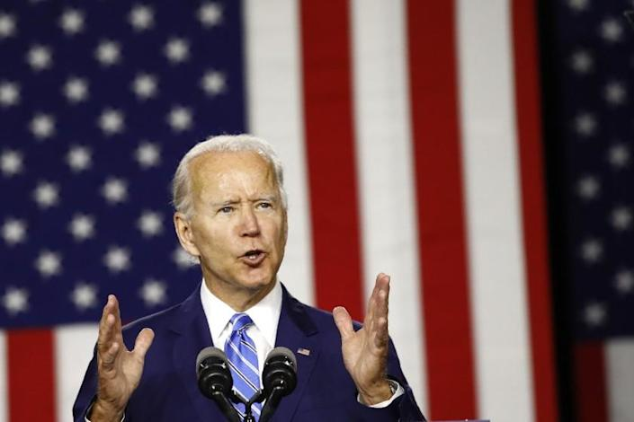 "Democratic presidential candidate and former Vice President Joe Biden speaks during a campaign event Tuesday in Wilmington, Del. <span class=""copyright"">(Patrick Semansky / Associated Press )</span>"