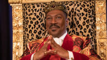 """More than 30 years after his previous screen appearance, Zamundan prince Akeem is back, with <a href=""""https://uk.movies.yahoo.com/coming-2-america-first-look-image-eddie-murphy-150613563.html"""" data-ylk=""""slk:Eddie Murphy again playing the African royal;outcm:mb_qualified_link;_E:mb_qualified_link;ct:story;"""" class=""""link rapid-noclick-resp yahoo-link"""">Eddie Murphy again playing the African royal</a>. The story picks up Akeem as he prepares to ascend to the throne, discovering a child (Jermaine Fowler) he never knew about in America. Murphy will hope to continue the momentum he has built since his comedy comeback in <em>Dolemite is my Name</em>. (Credit: Amazon Studios)"""