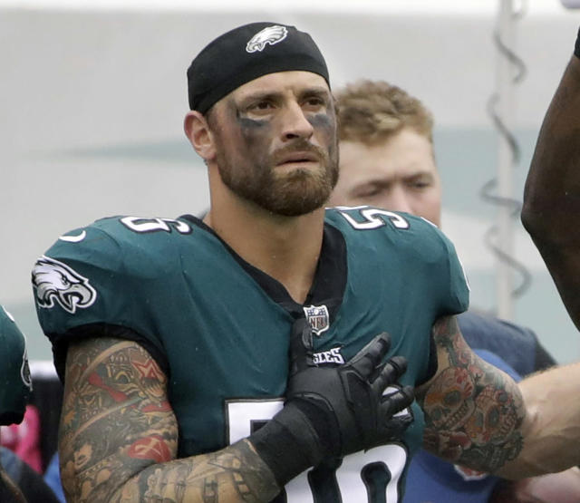 The Philadelphia Eagles' Chris Long during the national anthem before a game in October. (Photo: Matt Rourke/AP)