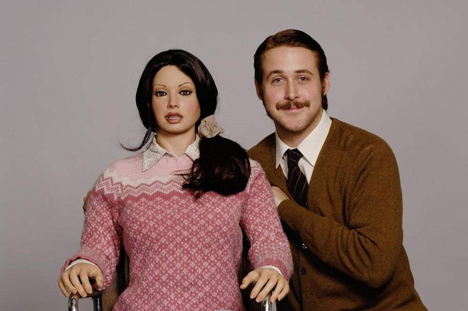 <p>Not sure which is more creepy, the Gosling porn-stache or the doll? Yet, REAL girls everywhere would still take this Gosling look any day of the week. (Photo: MGM)</p>