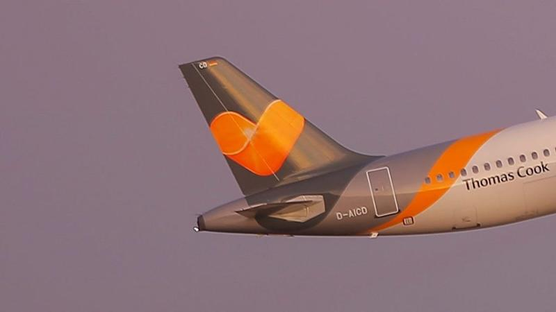 Condor airlines plane takes off on the day its travel firm parent company Thomas Cook collapsed, at Jerez de la Frontera Airport
