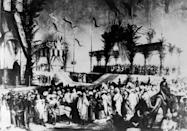 An archive photo from 1869 shows the lavish inauguration ceremony for the Suez Canal, even attended by Empress Eugenie, wife of Napoleon III (AFP Photo/-)