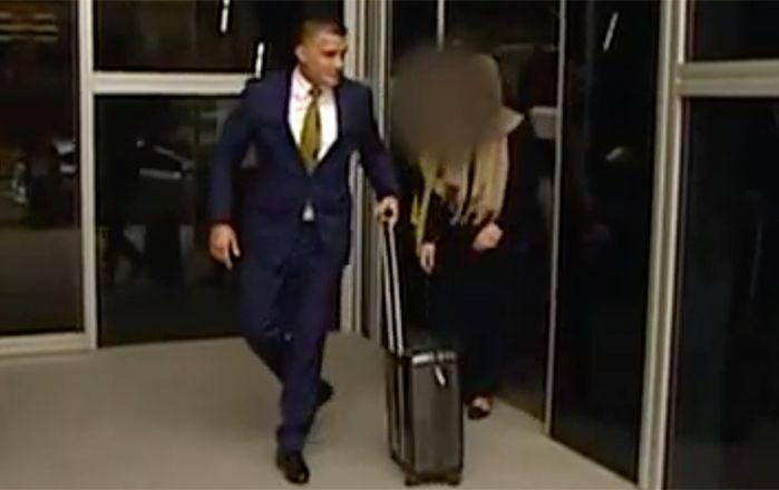 The accused teen leaves court with her lawyer. Picture: 7 News
