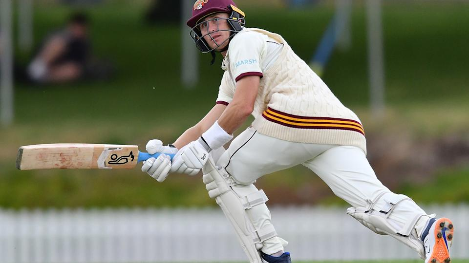 Marnus Labuschagne belted an impressive 117 for Queensland in their Sheffied Shield clash against NSW. Picture: Getty Images