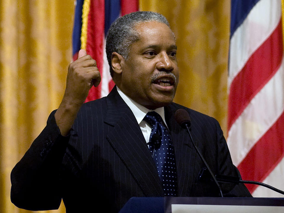 This Feb. 8, 2011, photo shows conservative talk show host Larry Elder, in Yorba Linda, Calif. Elder, 69, issued a brief statement Wednesday, June 30, 2021, saying he was seriously considering entering the California Governor's recall race and would announce his decision early next week. California has scheduled a Sept. 14, 2021, recall election that could oust Democratic Gov. Gavin Newsom from office. (Kevin Sullivan/The Orange County Register via AP)