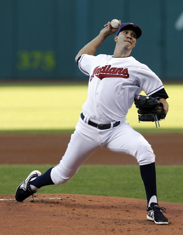 Cleveland Indians starting pitcher Ubaldo Jimenez delivers in the first inning of a baseball game against the Minnesota Twins, Friday, Aug. 23, 2013, in Cleveland. (AP Photo/Tony Dejak)