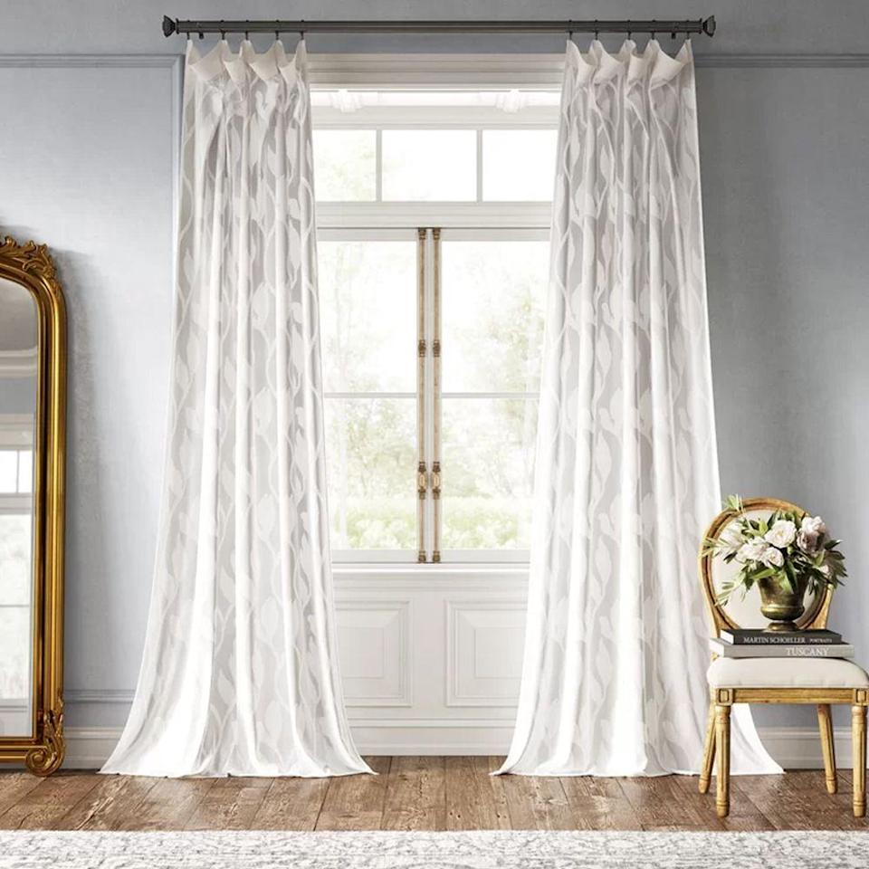 "<p>Known for their affordable prices and quick delivery, Wayfair has tons of window treatments for you to pick from, everything from floor-skimming drapery to light-filtering valances. Make a statement with your curtains by going for something with big florals, geometric patterns, or sparkly embellishments. </p><p><a class=""link rapid-noclick-resp"" href=""https://go.redirectingat.com?id=74968X1596630&url=https%3A%2F%2Fwww.wayfair.com%2Fdecor-pillows%2Fpdp%2Fkelly-clarkson-home-euphony-damask-sheer-rod-pocket-single-curtain-panel-w002844674.html&sref=https%3A%2F%2Fwww.goodhousekeeping.com%2Fhome-products%2Fg34524563%2Fbest-places-to-buy-curtains%2F"" rel=""nofollow noopener"" target=""_blank"" data-ylk=""slk:SHOP NOW"">SHOP NOW</a></p>"