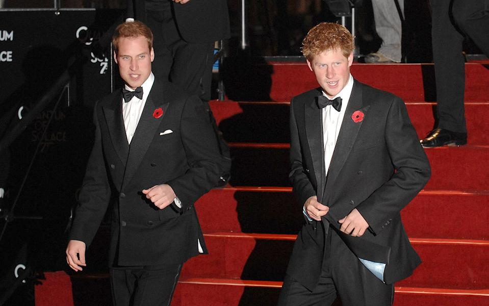 <p>Prince William and Prince Harry arrived at the world premiere of <em>Quantum of Solace </em>in London looking dapper in classic tuxedos. </p>