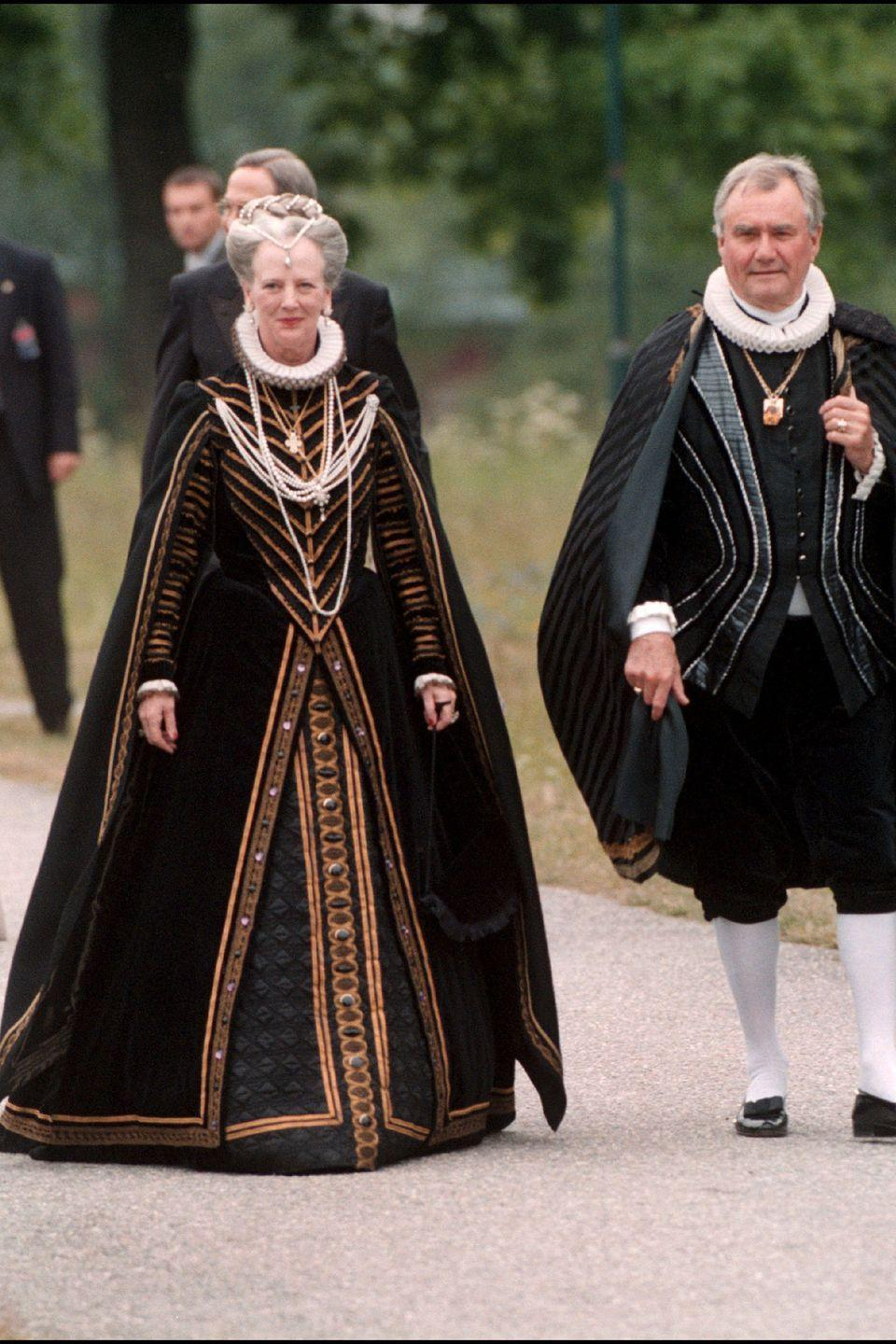 <p>Queen Margrethe and husband Henrik in Sweden.</p>