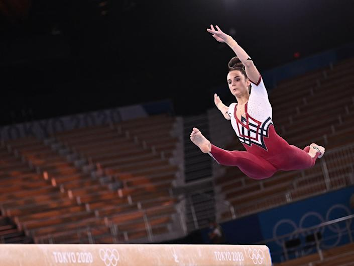Germany's Pauline Schaefer-Betz competes in the artistic gymnastics balance beam event at the Tokyo Olympics