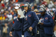 CORRECTS TO OFFENSIVE COORDINATOR CHUCK PAGANO NOT HEAD COACH MATT NAGY - Chicago Bears offensive coordinator Chuck Pagano stands on the sideline during the first half of an NFL football game against the New York Giants in Chicago, Sunday, Nov. 24, 2019. (AP Photo/Paul Sancya)