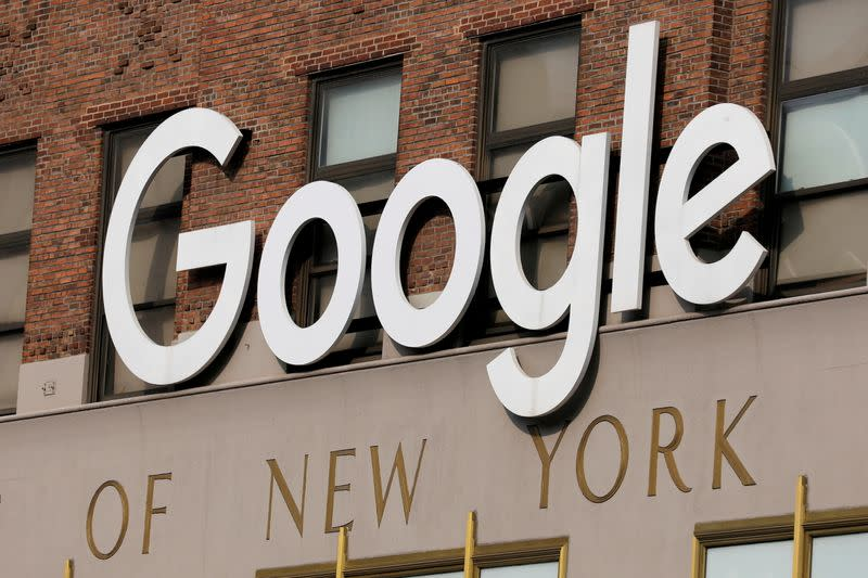 FILE PHOTO: A logo is seen on the New York Google offices in New York City