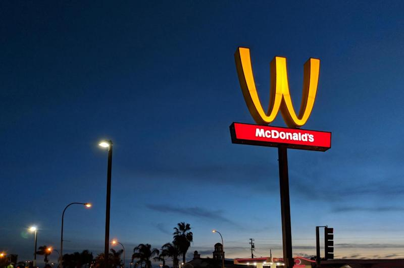 """A branch in Lynwood, California, surprised its customers by flipping the sign outside the store to resemble a """"W"""" on Wednesday (McDonald's )"""