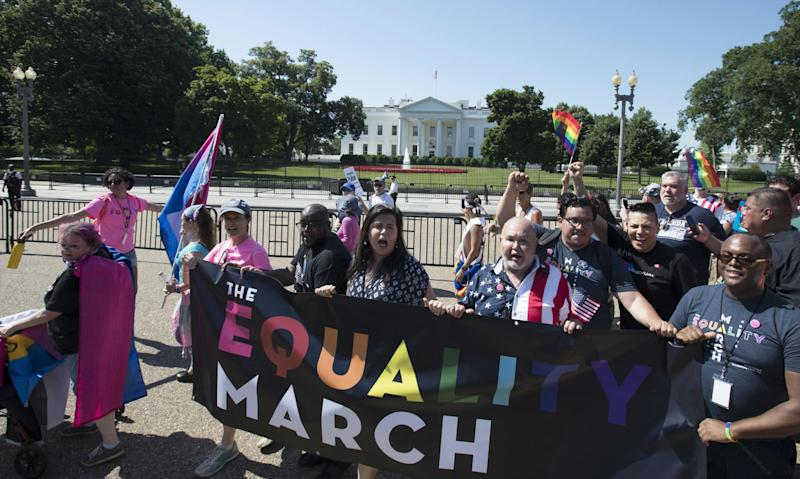 Campaigners have accused Mr Trump of harming the LGBTQ community: AP