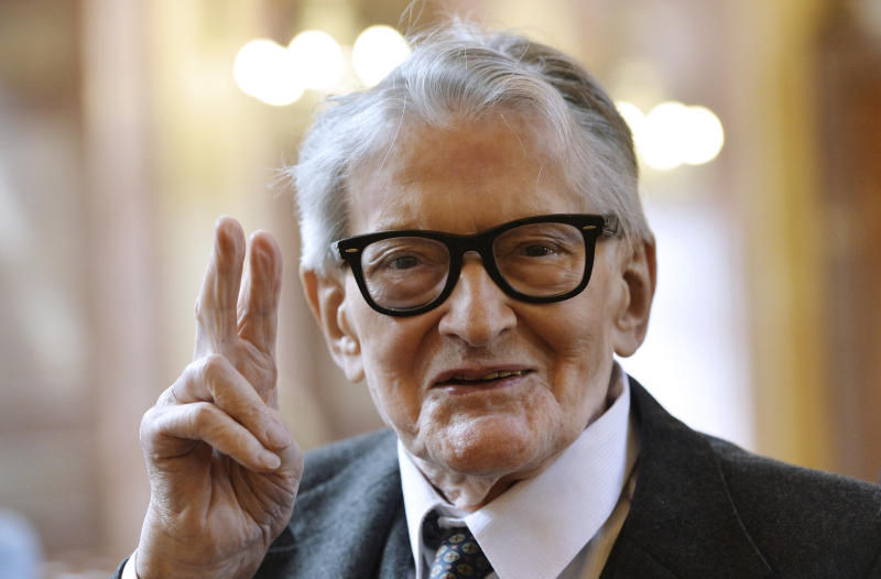 FILE - In this May 10, 2016, file photo, Vojtech Jasny, Czech film director and scriptwriter, poses for photographers in Prague, Czech Republic. Vojtech Jasny has died on Friday, Nov. 15, 2019, at the age of 93 years. (Katerina Sulova/CTK via AP)