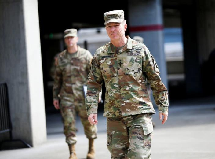 Army Chief of Staff General McConville at a military field hospital for non-coronavirus patients inside CenturyLink Field Event Center during the coronavirus disease (COVID-19) outbreak in Seattle