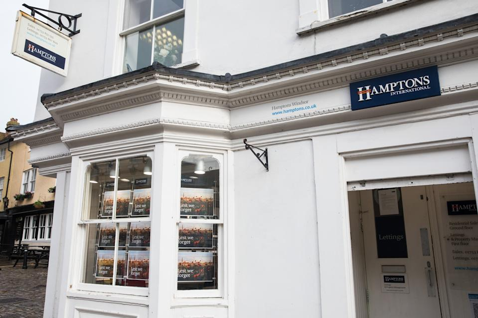 A branch of estate agent Hamptons International is pictured during the second coronavirus lockdown