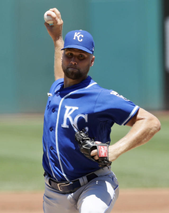 Kansas City Royals starting pitcher Glenn Sparkman delivers in the first inning of a baseball game against the Cleveland Indians, Sunday, July 21, 2019, in Cleveland. (AP Photo/Tony Dejak)