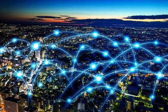 Smart city and telecommunication network concept.