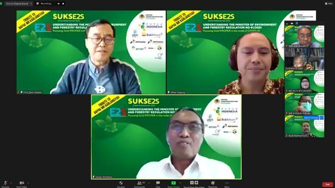 Webinar SUKSE2S (Solusi Kebersamaan E2S) bertema Understanding The Minister of Environment and Forestry Regulation No 1/2021 : Pursuing Gold PROPER in The Midst of COVID-19.