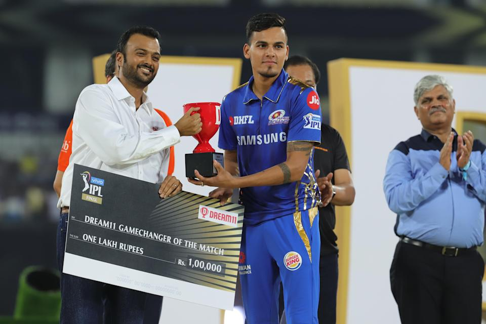 Rahul Chahar was the award of the 'Gamechanger of the Match'