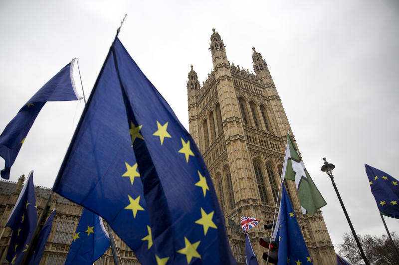 A file image of EU flags outside the Houses of Parliament (Isabel Infantes/EMPICS Entertainment)