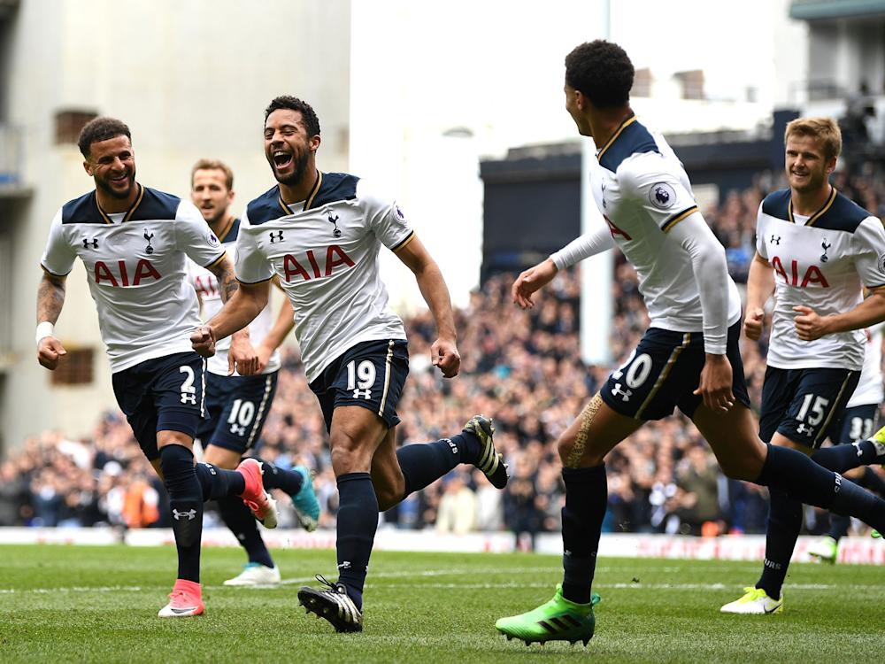 Mousa Dembele celebrates his opener: Getty