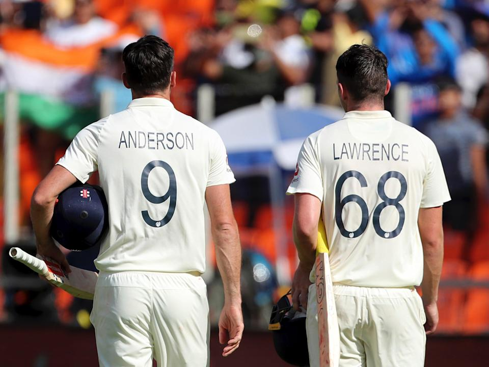 England cricketers James Anderson and Dan Lawrence (AP)