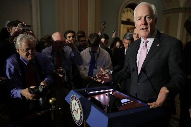 Senate Majority Whip John Cornyn responds to reporters following the weekly GOP policy luncheon at the Capitol, June 20, 2017. (Photo: Chip Somodevilla/Getty Images)