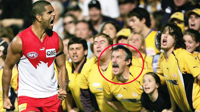 Michael O'Loughlin, pictured here spraying some West Coast Eagles fans in 2006.