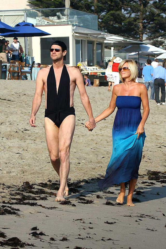 "Jim Carrey doesn't have a jiggly belly, but that doesn't mean he should have slipped into his girlfriend Jenny McCarthy's slinky black swimsuit. Remember men - say no to Speedos! AlphaX/<a href=""http://www.x17online.com"" target=""new"">X17 Online</a> - July 4, 2008"