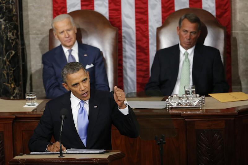 "In this Jan. 28, 2014, photo, Vice President Joe Biden and House Speaker John Boehner of Ohio listens as President Barack Obama gives his State of the Union address on Capitol Hill in Washington. In the address, Obama unveiled a new program called ""myRA,"" for ""my IRA."" It's aimed at helping the roughly half of Americans with no retirement plan at work. With low initial investments, workers can invest in Treasury bonds and eventually concert the accounts into traditional IRAs. (AP Photo/Charles Dharapak)"