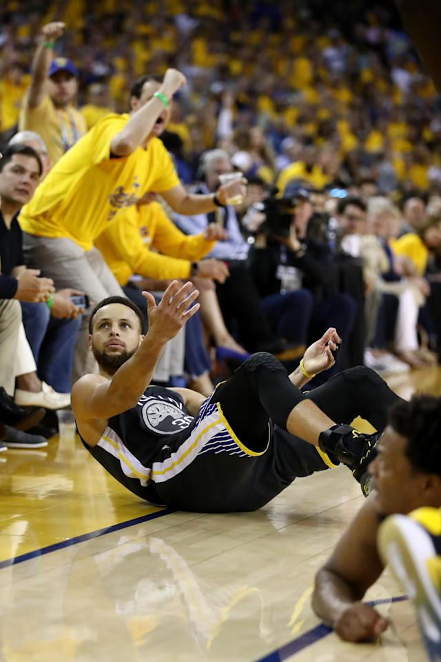 Stephen Curry #30 of the Golden State Warriors reacts against the Toronto Raptors in the first half during Game Four of the 2019 NBA Finals at ORACLE Arena on June 07, 2019 in Oakland, California. (Photo by Ezra Shaw/Getty Images)