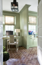 """<p>Another good choice for brick? Green. In this office by Cavin-Winfrey, <a href=""""https://www.benjaminmoore.com/en-us/color-overview/find-your-color/color/495/hillside-green?color=495"""" rel=""""nofollow noopener"""" target=""""_blank"""" data-ylk=""""slk:Hillside Green"""" class=""""link rapid-noclick-resp"""">Hillside Green</a> was used on the walls and <a href=""""https://www.benjaminmoore.com/en-us/color-overview/find-your-color/color/482/misted-fern?color=482"""" rel=""""nofollow noopener"""" target=""""_blank"""" data-ylk=""""slk:Misted Fern"""" class=""""link rapid-noclick-resp"""">Misted Fern</a> on the trim and cabinets (both by Benjamin Moore).</p>"""