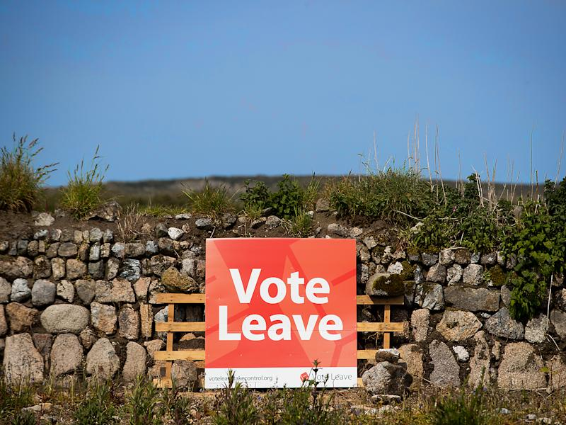 A poster beside the road in Penzance, Cornwall, before June's referendum: Getty