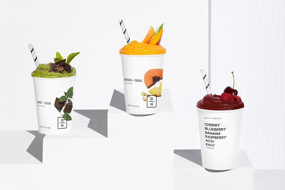 """Behold, the perfect subscription box for people who like to drink their food. Just kidding. But make sure they own a blender since <a href=""""https://www.glamour.com/story/daily-harvest-review?mbid=synd_yahoo_rss"""" rel=""""nofollow noopener"""" target=""""_blank"""" data-ylk=""""slk:Daily Harvest"""" class=""""link rapid-noclick-resp"""">Daily Harvest</a> is all about delivering healthy, vegan-friendly meals in a cup. $75, Daily Harvest. <a href=""""https://www.daily-harvest.com/app/gifts"""" rel=""""nofollow noopener"""" target=""""_blank"""" data-ylk=""""slk:Get it now!"""" class=""""link rapid-noclick-resp"""">Get it now!</a>"""