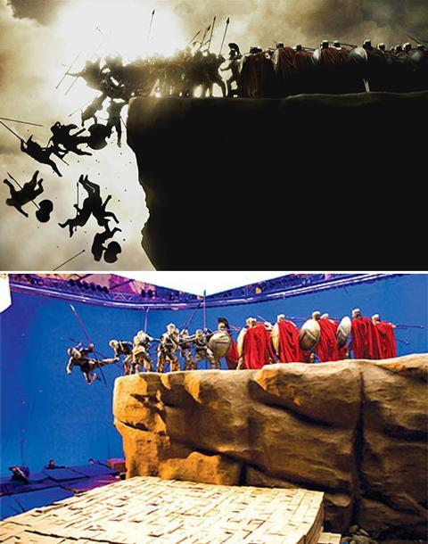 <b>300</b> To achieve the shot-for-shot adaptation of Frank Miller's Spartan comic, director Zack Snyder photocopied the graphic novel and built the set and each shot around it. The iconic cliff-top fight involved filming a few actors falling, and then replicating them in post-production for an army of tumbling warriors.
