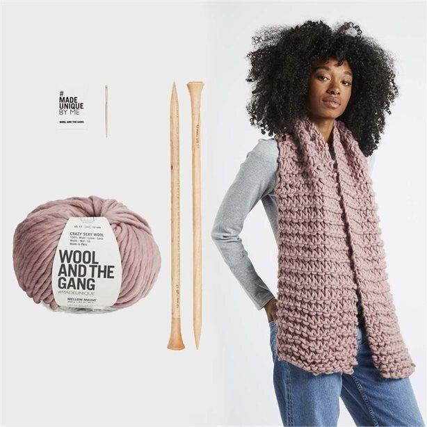 """Everyone at some point has thought about making a scarf, right? Well, if your friend is brave enough to try, this knitting kit from Wool and the Gang might convert them. <a href=""""https://www.chapters.indigo.ca/en-ca/paper/wool-and-the-gang-triple/604565063045-item.html"""" target=""""_blank"""" rel=""""noopener noreferrer"""">Get it for $85 at Indigo.</a>"""