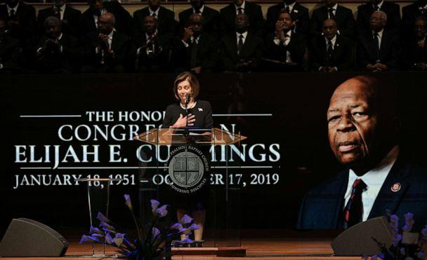 PHOTO: House Speaker Nancy Pelosi speaks during funeral services for the late Rep. Elijah Cummings at the New Psalmist Baptist Church in Baltimore, Oct. 25, 2019. (Lloyd Fox/Pool via Reuters)